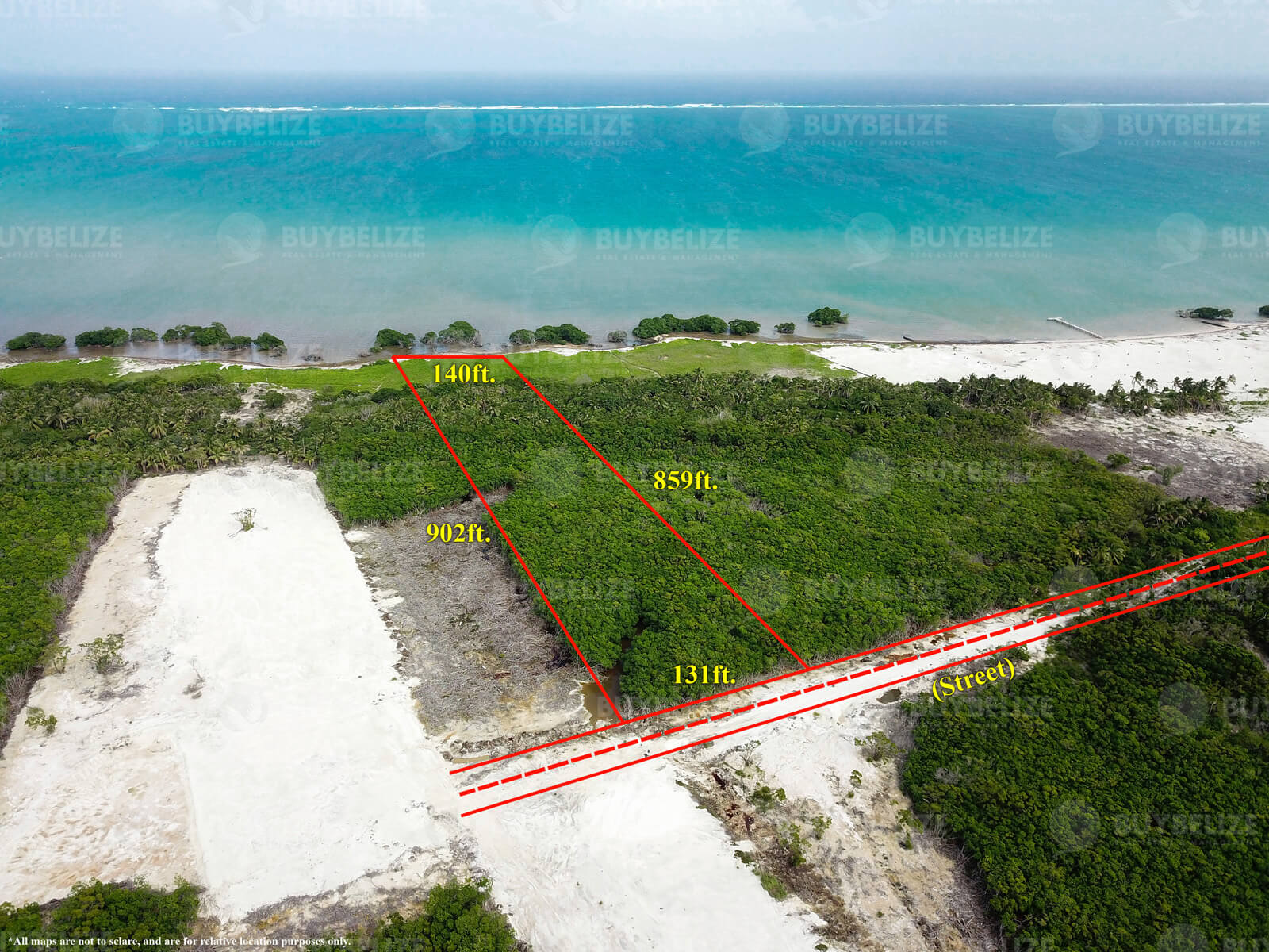 2.6 acres of beautiful seafront in Caye Caulker Belize