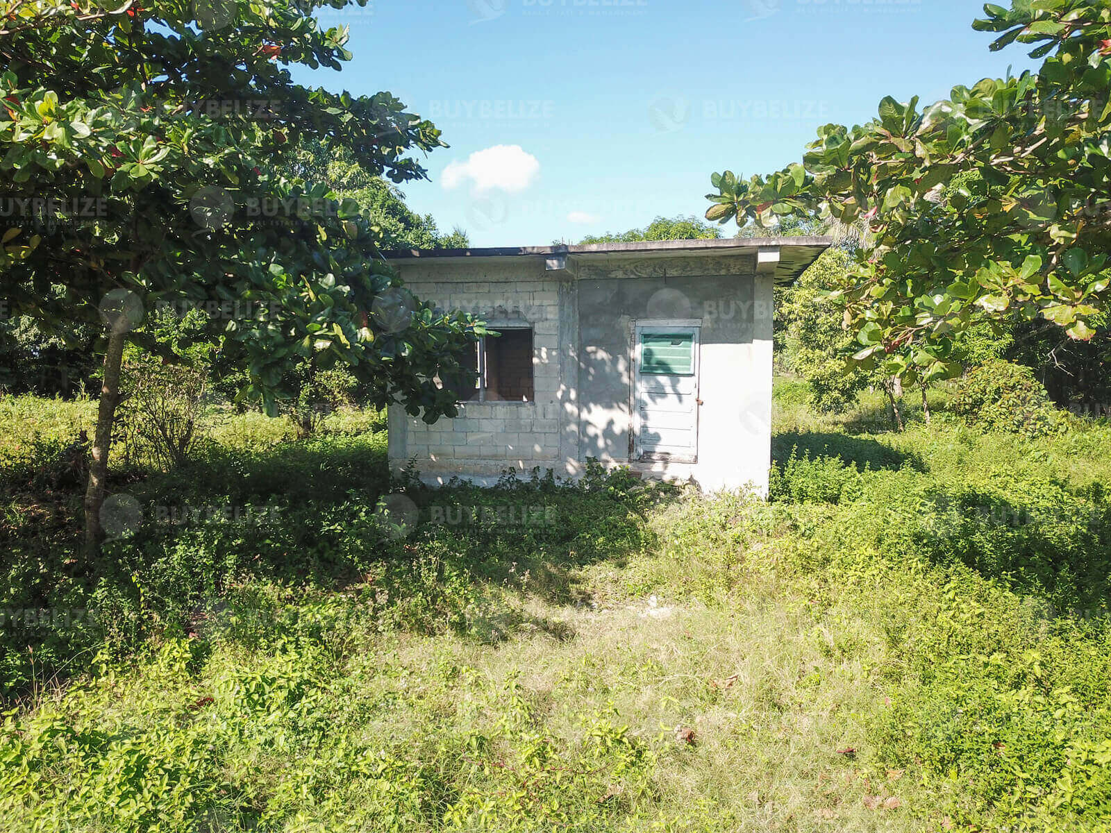 Large lot located in San Roman Corozal Town for sale with an unfinished structure